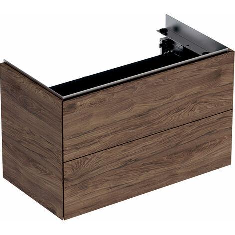 Mueble bajo encimera Geberit One, 744x750x465mm, 2 cajones, de pared, 500381, Color (frente/cuerpo): Chapa de madera auténtica de nogal americano - 500.381.00.1