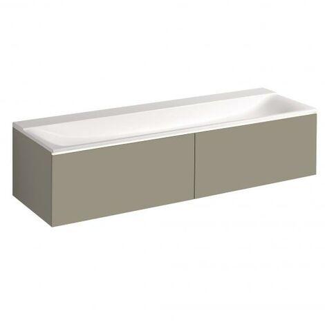 Mueble bajo encimera Geberit Xeno 2 500.348., 1595x350x473 mm, 2 cajones, para lavabo sobre material mineral, color: Laca mate grisácea - 500.346.00.1