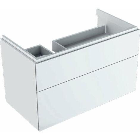 Mueble bajo encimera Geberit Xeno 2 con sifón a la izquierda 500.515., 880x530x462mm, 2 cajones, color: Laca blanca de alto brillo - 500.515.01.1