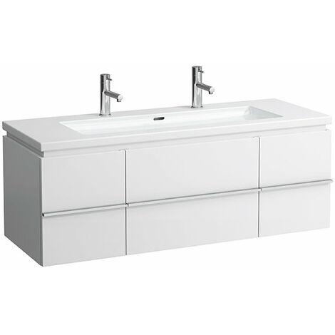 Mueble bajo encimera Laufen, 2 puertas, 2 cajones, 460x1295x475, apto para living square, color: Blanco brillante - H4013120754751