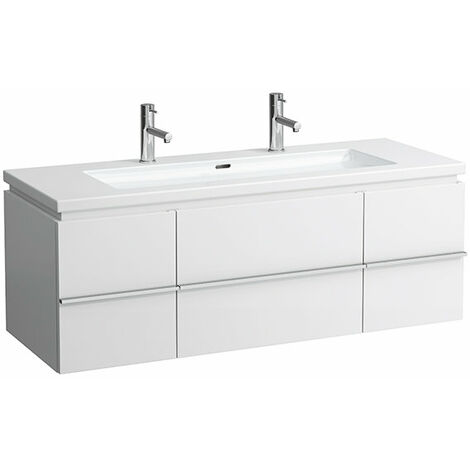 Mueble bajo encimera Laufen, 2 puertas, 2 cajones, 460x1295x475, apto para living square, color: Nieve (blanco mate) - H4013120754631