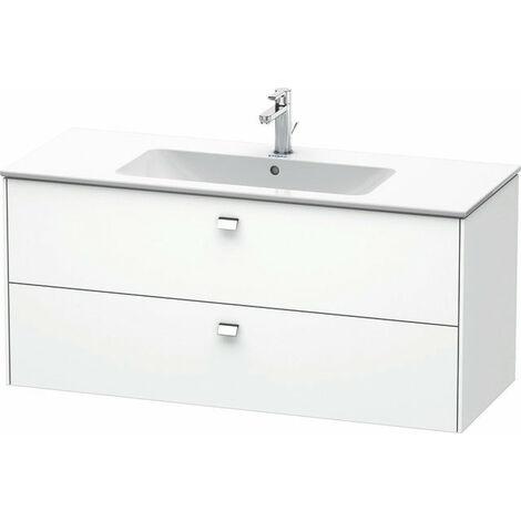 Mueble bajo lavabo Duravit Brioso de pared 122,0 x 47,9 cm, con 2 cajones, incl. hueco para sifón y delantal, para lavabo ME by Starck 233612, Color (frente/cuerpo): Decoración blanco mate, mango cromado - BR410401018