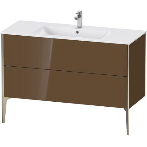Mueble bajo lavabo Duravit Xviu 4484 vertical, 2 cajones, para lavabo ME by Starck 233612, 1210x480 mm,, Color (frente/cuerpo): champán mate / marrón oliva hgl. - XV44840B161