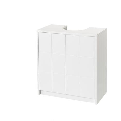 Mueble bajo lavabo para encastrar de madera MDF blanco contemporáneo, de 56x30x60 cm