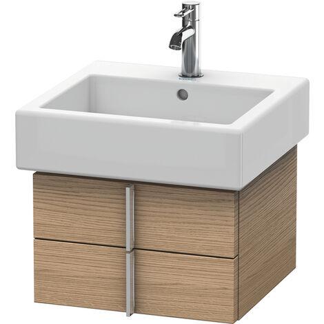 Mueble bajo lavabo Vero 6203, de pared, con 2 cajones, 450mm, Color (frente/cuerpo): Nogal cepillado Chapa de madera auténtica - VE620306969