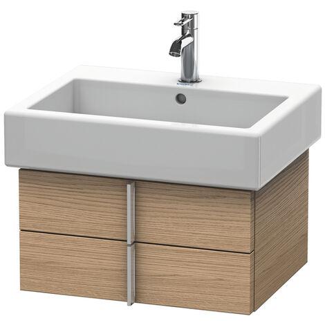 Mueble bajo lavabo Vero 6204, con 2 cajones, 550mm, Color (frente/cuerpo): Nogal cepillado Chapa de madera auténtica - VE620406969