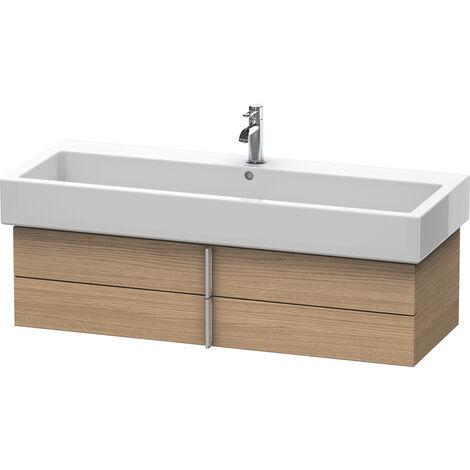 Mueble bajo lavabo Vero 6208, de pared, con 2 cajones, 1150mm, Color (frente/cuerpo): Nogal cepillado Chapa de madera auténtica - VE620806969
