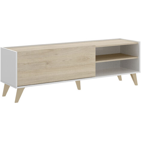 Mueble Bajo TV -Blanco / Natural- 47 x 155 x 43 cm