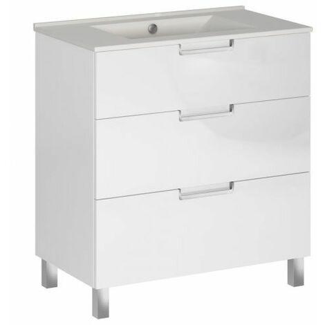 Mueble baño 3 cajones blanco 80x45 cm Cáucaso Alterna