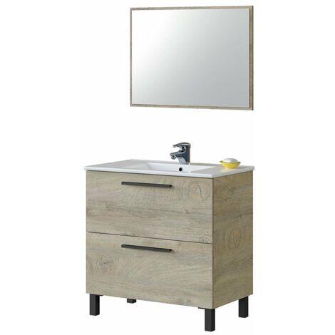 Mueble baño Athena 2 cajones roble alaska 80x45 (LAVABO OPCIONAL)