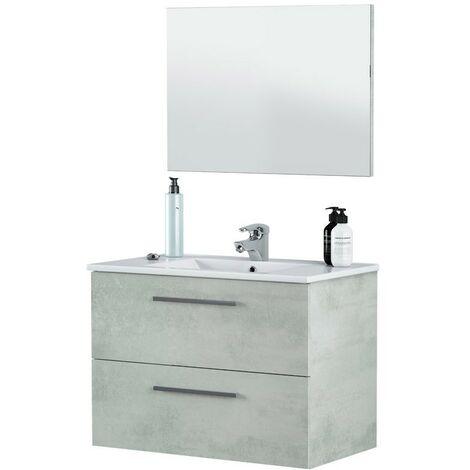 Mueble baño con espejo cemento 80x45x57 cm (Lavamanos opcional)