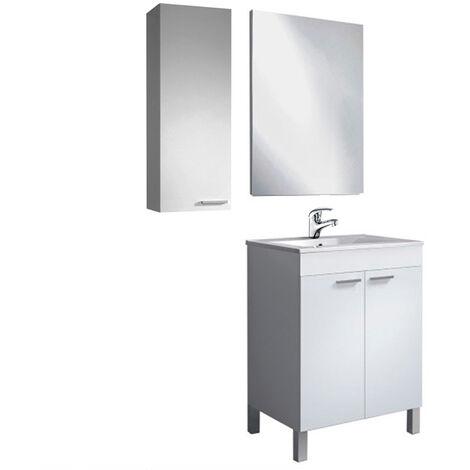 Mueble Baño con Lavabo fantastico e PMMA (No clásica cerámica) + Espejo + Columna Pared + Grifería Incluida