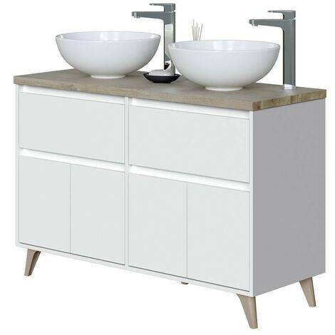 Mueble baño doble color roble y blanco (LAVABO OPCIONAL)