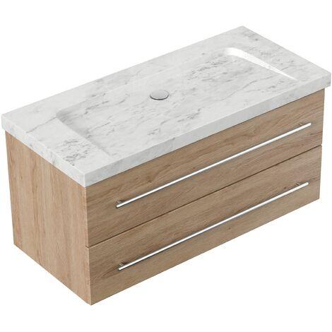Mueble baño mármol Carrara Blanco Damo 100cm sin agujero para grifo Roble claro