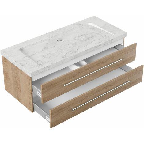 Mueble baño mármol Carrara Blanco Damo 130cm sin agujero para grifo Roble claro
