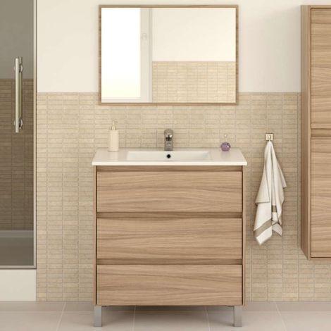 Mueble de ba o con espejo 3 cajones 86x80x45 cm color for Mueble con espejo para bano