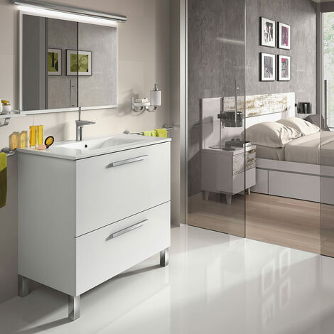 """main image of """"Mueble de baño con lavamanos ?(opcional) y espejo, Naida 80x45 Blanco Brillo"""""""