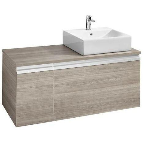 Mueble base Roca Heima para lavabo sobre encimera derecha 1100x500x500mm Fresno