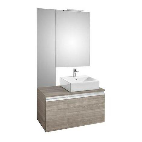 Mueble base Roca Heima para lavabo sobre encimera derecha con espejo y aplique Smartlight 1100x500x500mm Fresno