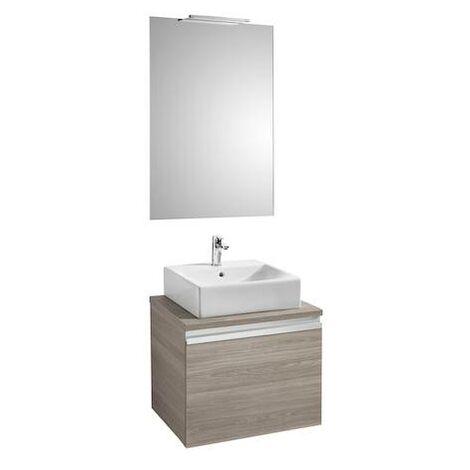 Mueble base Roca Heima para lavabo sobre encimera espejo y aplique Smartlight 600x500x500mm Fresno