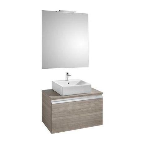 Mueble base Roca Heima para lavabo sobre encimera espejo y aplique Smartlight 800x500x500mm Fresno