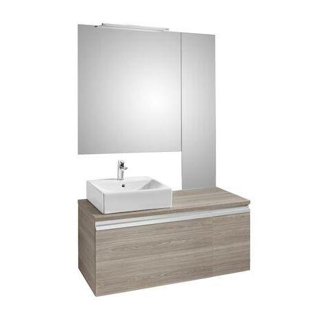 Mueble base Roca Heima para lavabo sobre encimera izquierda, espejo y aplique Smartlight 1100x500x500mm Fresno