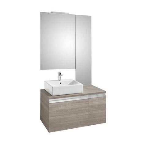 Mueble base Roca Heima para lavabo sobre encimera izquierda, espejo y aplique Smartlight 900x500x500mm Fresno