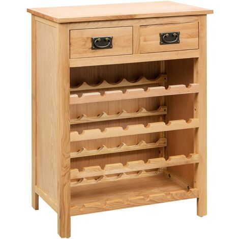 Mueble botellero de madera maciza de roble 72x32x90 cm
