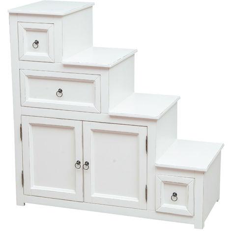 Mueble cajonera escala de madera maciza de tilo acabado con efecto blanco envejecido 94x41x97 cm
