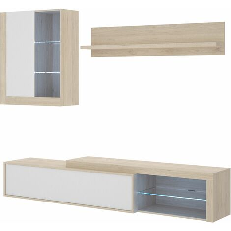 Mueble comedor Koln con luz LED Blanco - Natural