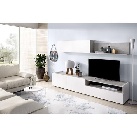 Mueble Comedor Salón Moderno, Blanco - Cemento, Medidas: 200 cm (ancho) x 180 cm (alto) x 41 cm (fondo)