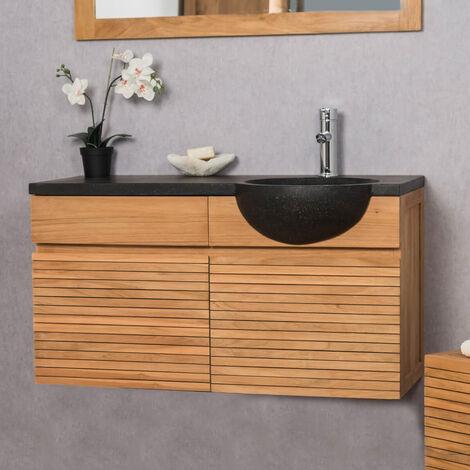 Mueble con lavabo para cuarto de baño de teca 100 CONTEMPORÁNEO negro