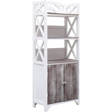 Mueble cuarto baño madera Paulownia blanco marrón 46x24x116 cm