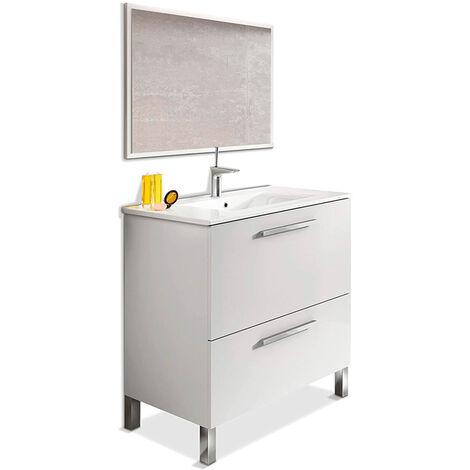 Mueble de aseo con lavamanos ?(opcional) y espejo, Naida 80x45 Nature