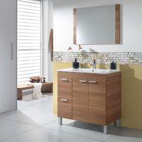 Mueble de aseo Sabela con espejo y lavamanos de cerámico a juego 80x45 cm color Nogal