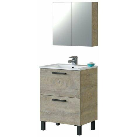 Mueble de baño 1 Armario 2 Puertas roble alaska 60x45 (LAVABO OPCIONAL)
