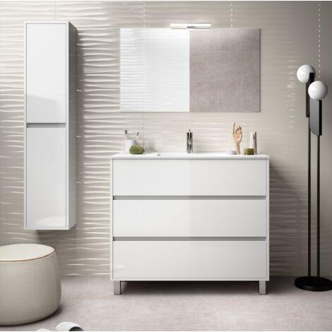 Mueble de baño 100 cm de madera lacada en blanco brillante con lavabo de porcelana