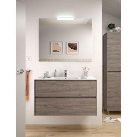 Mueble de baño 100 cm de madera Roble Eternity con lavabo de porcelana