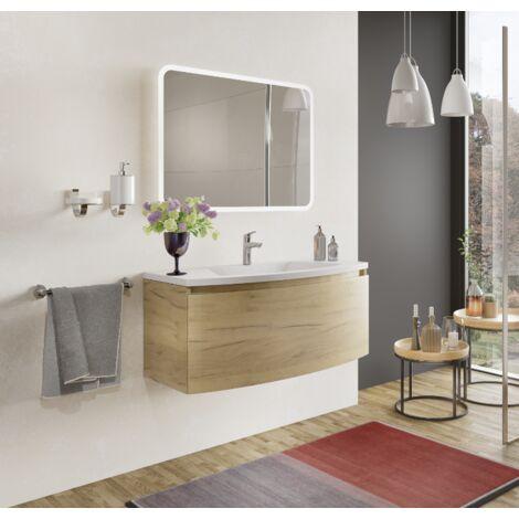 Mueble de baño 100 cm Venere en madera roble dorado con lavabo de cerámica