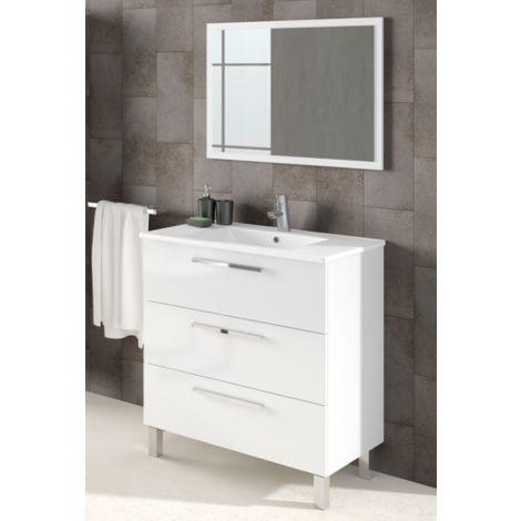 Mueble de baño 3 cajones de pie 80 cm blanco brillante con espejo