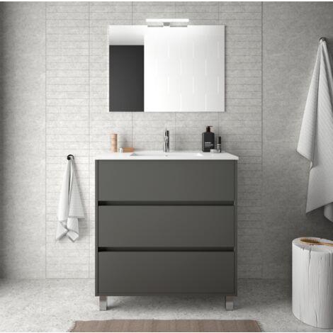Mueble de baño 80 cm de madera gris mate con lavabo de porcelana