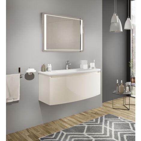 Mueble de baño 80 cm Venere en madera crema brillante con lavabo de cerámica