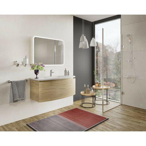 Mueble de baño 80 cm Venere en madera roble dorado con lavabo de cerámica y espejo | Con espejo