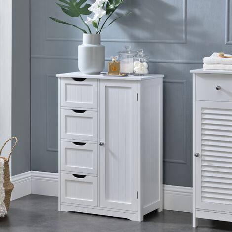 Mueble de baño – 81x55x30cm – blanco con 4 cajones y 3 estantes