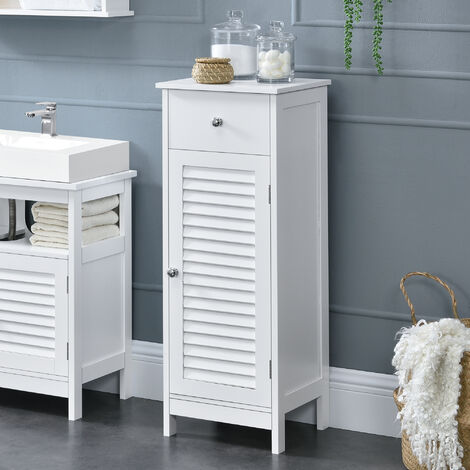 Mueble de baño – 87x30x30cm – con un cajón y compartamiento para almacenar - blanco