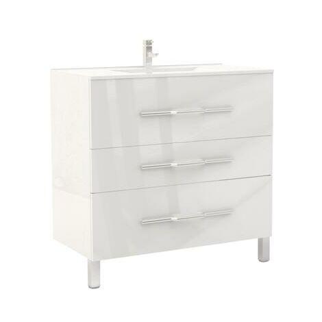 Mueble de bano ALAN 90 Blanco Dimensiones : 91x46x88 cm - Aqua +