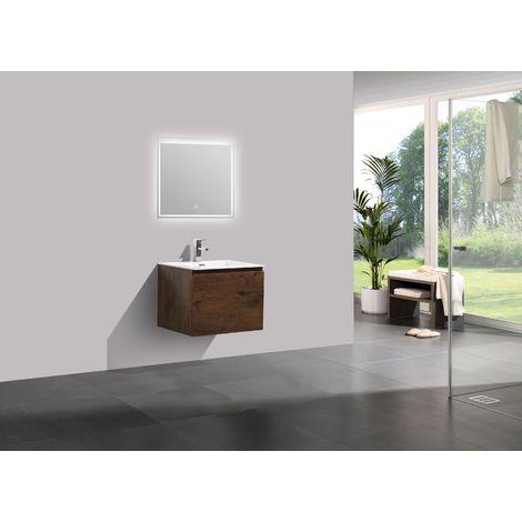 Mueble de baño Alice 600 con aspecto de madera oscura - Espejo opcional