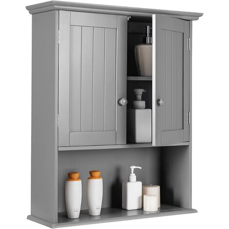 Mueble de Baño Armario de Pared Estanterías Gabinete con Puerta y Estante para Cocina Dormitorio Salón (Gris)