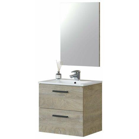 Mueble de baño Aruba 2 cajones roble alaska 60x45 (LAVAMANOS OPCIONAL)