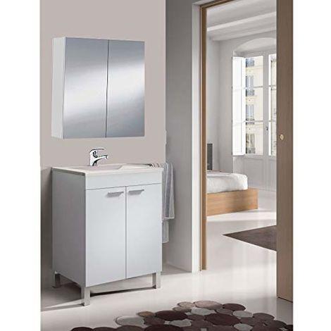 Mueble de baño-aseo pequeño ESPEJO CAMERINO incluido y lavamanos cerámico, 2 puertas 50 ancho x 80 alto x 40 profundidad